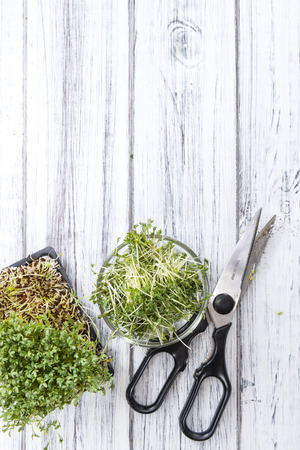 Portion of Cress (close-up shot) on rustic wooden background