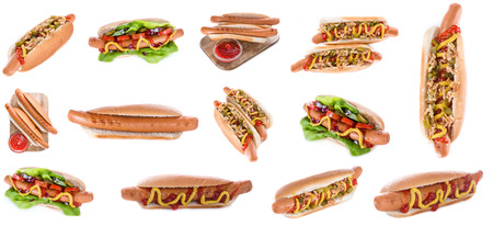 fast food: Hot Dogs isolated on white background (selective focus)