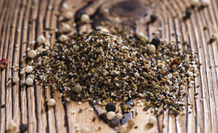 peppercorns: Crushed Peppercorns with different spices and salt (close-up shot)