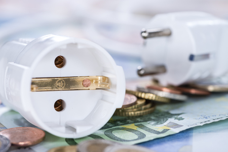 energy costs: European money Energy Costs concept (detailed close-up shot) Stock Photo