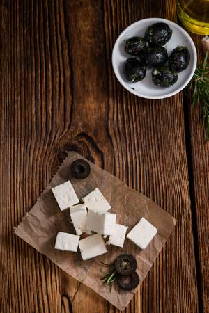 detailed shot: Portion of fresh cutted Feta Cheese (as detailed close-up shot) Stock Photo