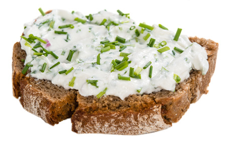 Slice of Bread with Herb Curd isolated on white background Archivio Fotografico