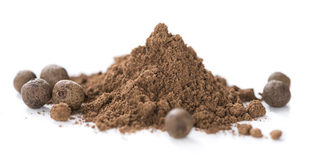 allspice: Heap of Allspice powder (isolated on white background)