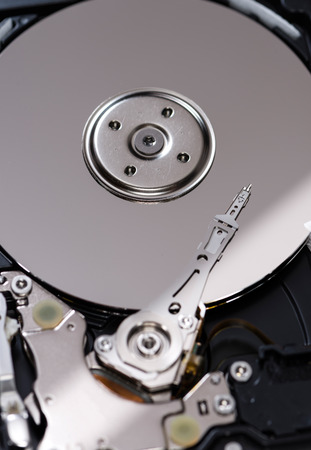 hard disk drive: Open Hard Disk Drive (detailed close-up shot)