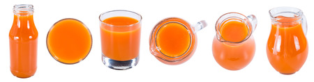 carrot juice: Fresh made Carrot Juice isolated on white background (close-up shot)