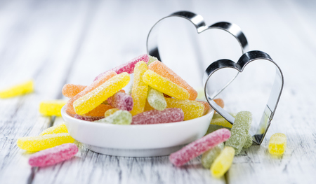 gummi: Portion of colorful Gummi Candy (close-up shot) with selective focus