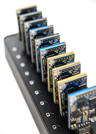mining equipment: Some Bitcoin mining equipment (hardware) isolated on white