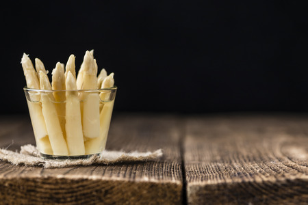 white asparagus: Preserved white Asparagus (detailed close-up shot; selective focus) Stock Photo