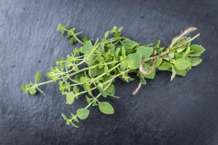 oregano plant: Portion of fresh Oregano (selective focus; close-up shot) on vintage background