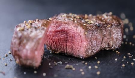 the medium: Medium grilled Beef Steak (close-up shot; selective focus) Stock Photo