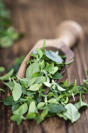 menthol: Menthol leaves on vintage wooden background (selective focus)