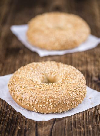 doughy: Some fresh baked Sesame Bagels (selective focus; close-up shot)