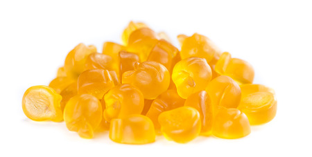 Gummy Peaches (close-up shot) isolated on white background Stock Photo