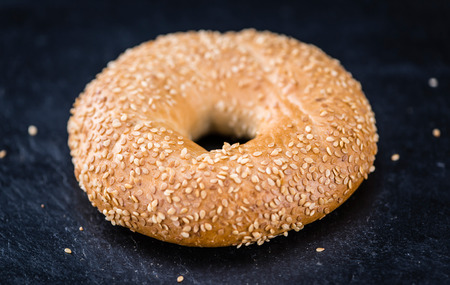 doughy: Some fresh baked Sesame Bagels (selective focus; close-up shot)