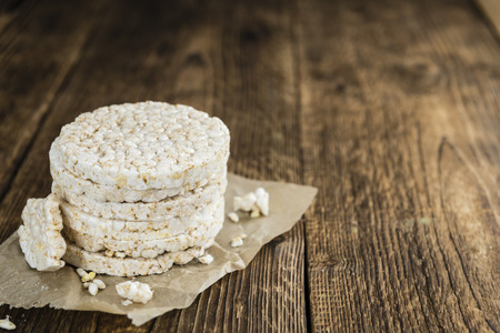 Portion of Rice Cakes (close-up shot) on wooden background Stock Photo