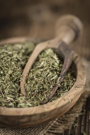 steviol: Dried Stevia leaves (selective focus) on vintage background