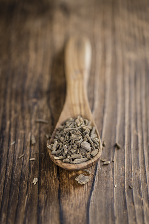 valerian: Valerian Roots on a wooden table (detailed close-up shot) Stock Photo
