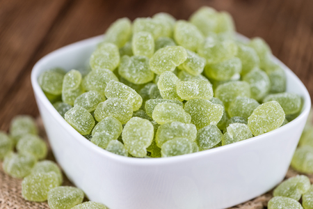 gummy: Apple flavoured gummy candy (close-up shot; selective focus) Stock Photo