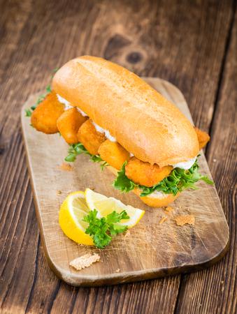 Fish Sticks on a sandwich (close-up shot; selective focus)