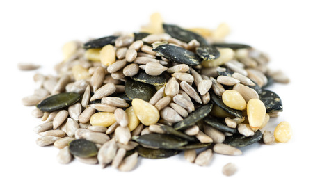 Portion of mixed Seeds isolated on white background