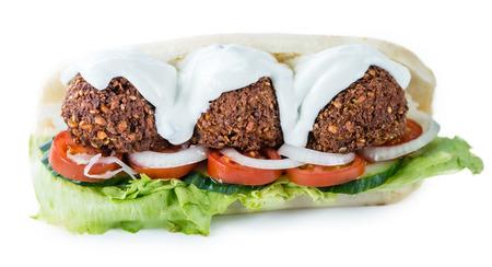 Falafel Sandwich (close-up shot) isolated on white background Stock Photo