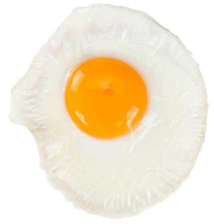 Fried Egg isolated on white background (close-up shot)