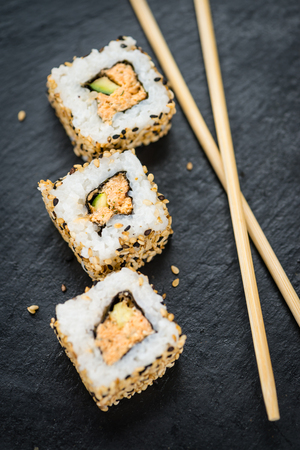 detailed shot: Some fresh made Sushi (detailed close-up shot; selective focus)