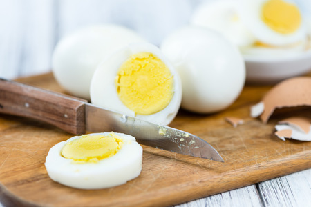 boiled eggs: Portion of boiled Eggs (detailed close-up shot; selective focus)
