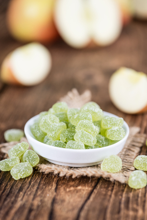 Apple flavoured gummy candy (close-up shot; selective focus) Stock Photo