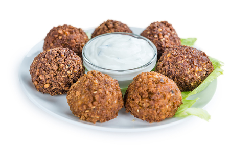 garbanzos: Falafel (close-up shot; selective focus) isolated on white background