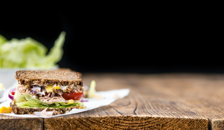 tuna mayo: Fresh made Tuna sandwich with wholemeal bread (selective focus; close-up shot)