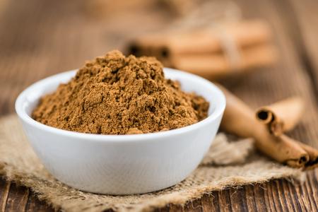 christmas grounds: Portion of fresh made Cinnamon (close-up shot; selective focus) Stock Photo