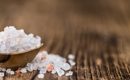 Pink Salt on a vintage background as detailed close-up shot (selective focus) Stock Photo