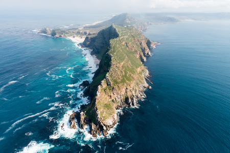 Cape Point (South Africa) aerial view shot from a helicopter 版權商用圖片 - 76360069