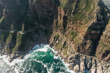 chapmans: Chapmans Peak Drive (Soth Africa) aerial view shot from a helicopter