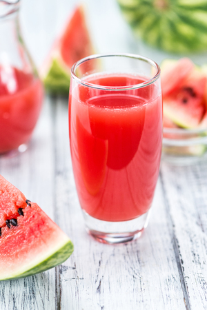 detailed shot: Watermelon Smoothie on a vintage background as detailed close-up shot (selective focus) Stock Photo