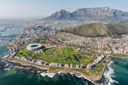 Cape Town, South Africa (aerial view) shot from a helicopter 스톡 콘텐츠