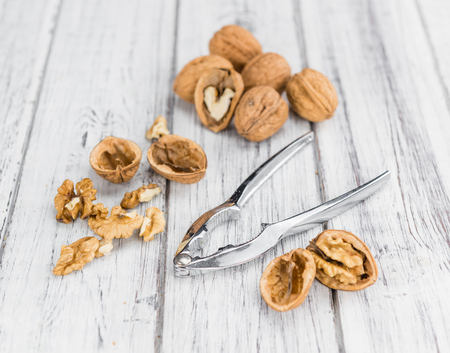 detailed shot: Walnuts on a vintage background as detailed close-up shot (selective focus)