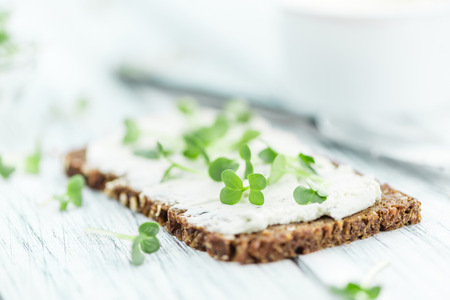 Fresh cutted Cress with creamy Cheese on a slice of bread (selective focus; close-up shot) Stock Photo