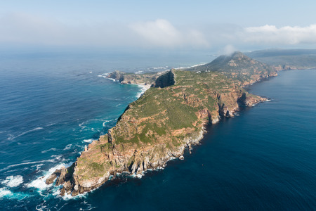 Cape Point and Cape of good hope (South Africa) aerial view shot from a helicopter Banco de Imagens
