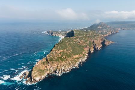 Cape Point en Kaap de goede hoop (Zuid-Afrika) luchtfoto shot van een helikopter