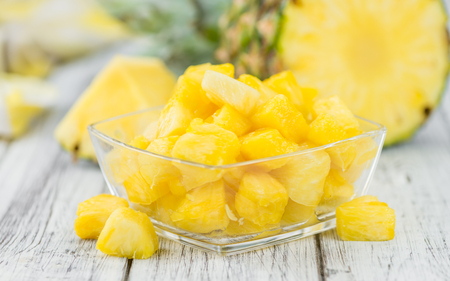 Some homemade Pineapple (sliced) as detailed close-up shot, selective focus