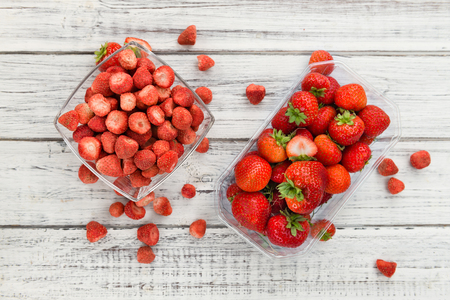 Dried Strawberries on a vintage background as detailed close-up shot, selective focus