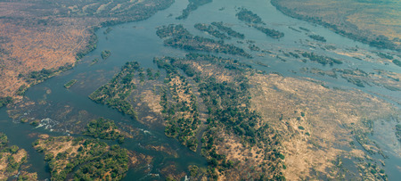Zambezi River next to the Victoria Falls, aerial shot made out of a helicopter
