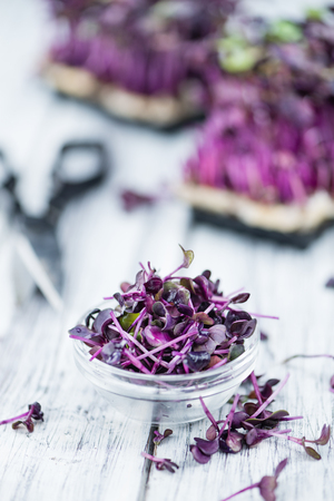 Fresh cutted Cress as high detailed close-up shot on a vintage wooden table (selective focus) Stock Photo