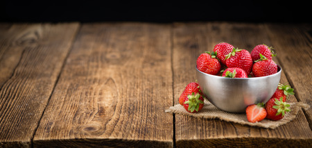 Portion of fresh Strawberries  close-up shot; selective focus Stock Photo