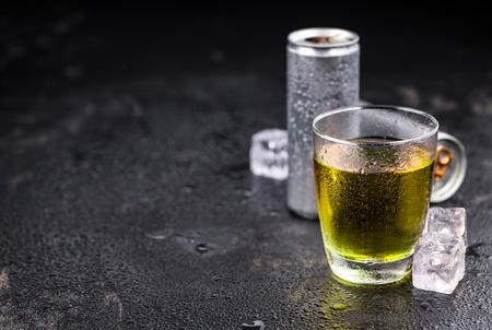 silver bars: Some fresh Energy Drinks on a vintage slate slab, selective focus, close-up shot