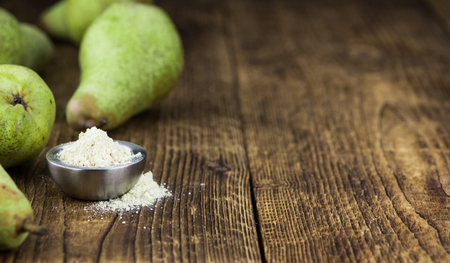 Portion of Pear powder as detailed close-up shot; selective focus