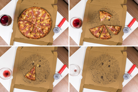 Fresh homemade Hawaiian Pizza in different stages on a modern table (collage, view from above) Banque d'images