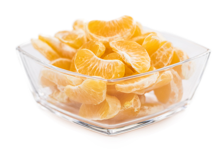 clementines: Portion of tangerines (close-up shot; selective focus) isolated on white background Stock Photo